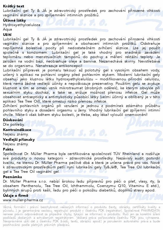 Informace o produktu Lubrik.gel Ty&Já parf.vůní jahody 100ml Dr.Müller
