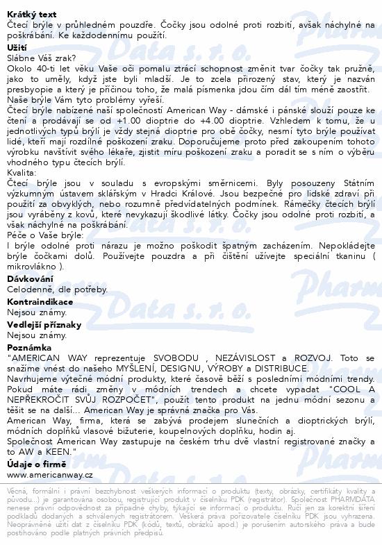 Informace o produktu Brýle čtecí American Way +2.00 modré v etui