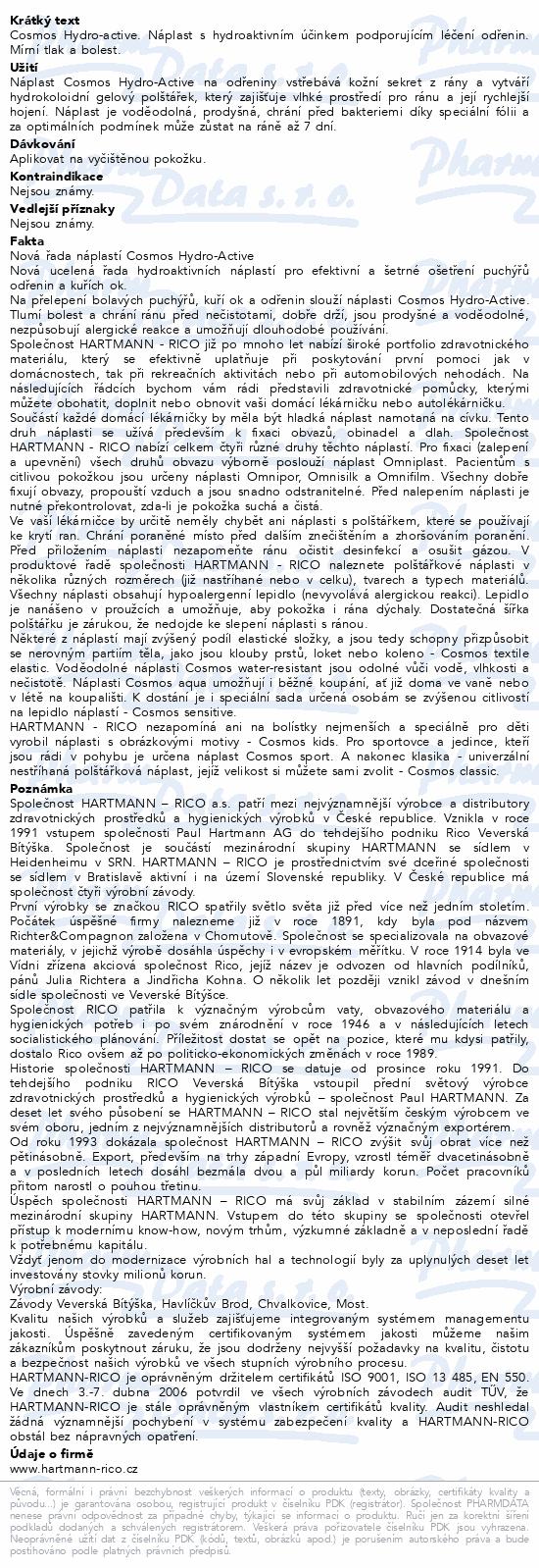 Informace o produktu Rychloobvaz COSMOS Na odřeniny 4ks (Hydro-Active)