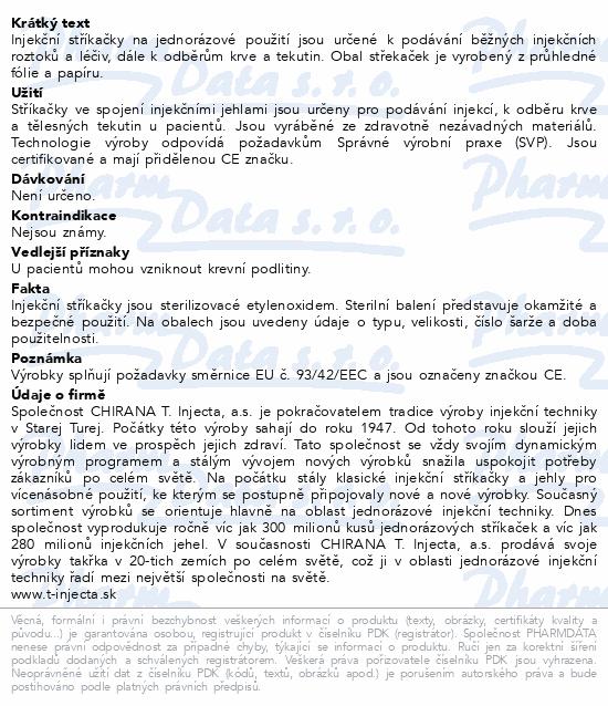 Informace o produktu Inj.střík.5ml Chirana Luer 100ks jednoráz.