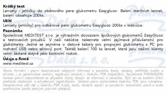 Informace o produktu Lancety pro pero ke gluk. Easygluco Glucolab 200ks