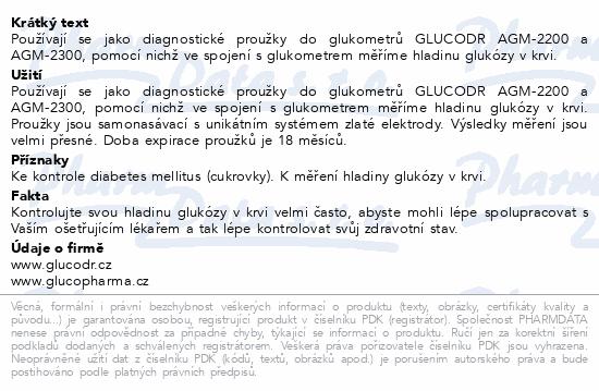Informace o produktu Proužky diagnostické GLUCODR 50ks