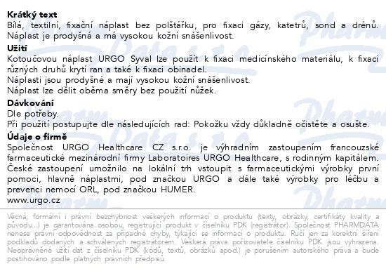 Informace o produktu URGO SYVAL Textilní náplast bílá 5mx1.25cm