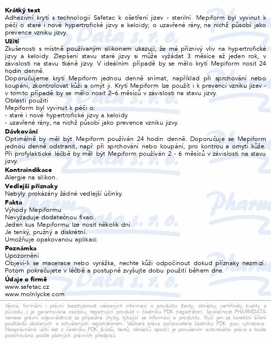 Informace o produktu Krytí Mepiform silikon 5x7.5cm 5ks