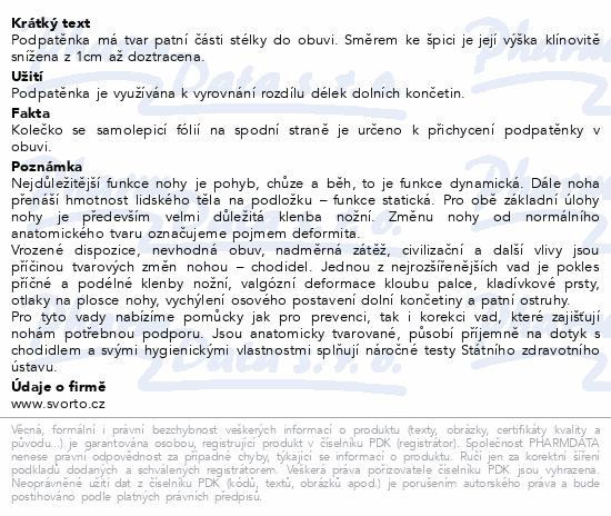 Informace o produktu svorto 017/B Podpatěnka korekční 1cm 43-46