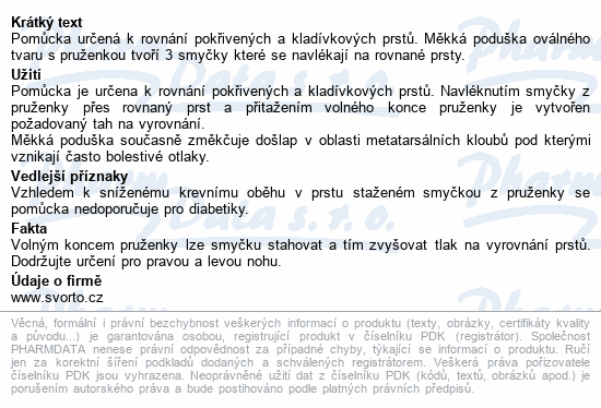 Informace o produktu svorto 051 Korektor kladívkových prstů 36-40 (1)L