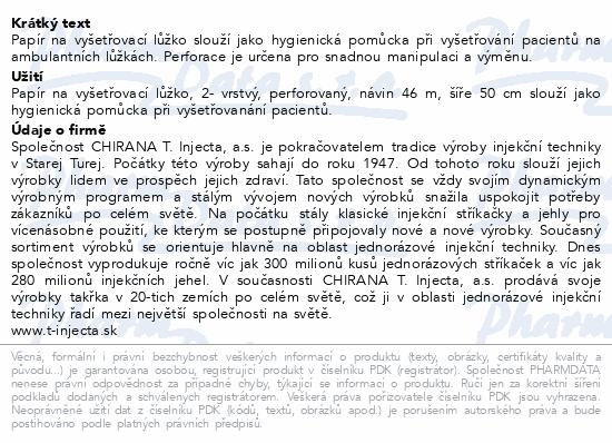 Informace o produktu Papír na vyšetř.lůžko 2-vrstvý perforovaný š.50cm