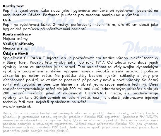 Informace o produktu Papír na vyšetř.lůžko 2-vrstvý perforovaný š.60cm