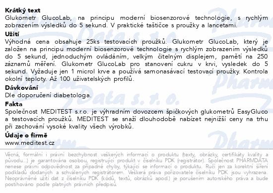 Informace o produktu Glukometr GlucoLab s 25ks test.proužků+25 lancet