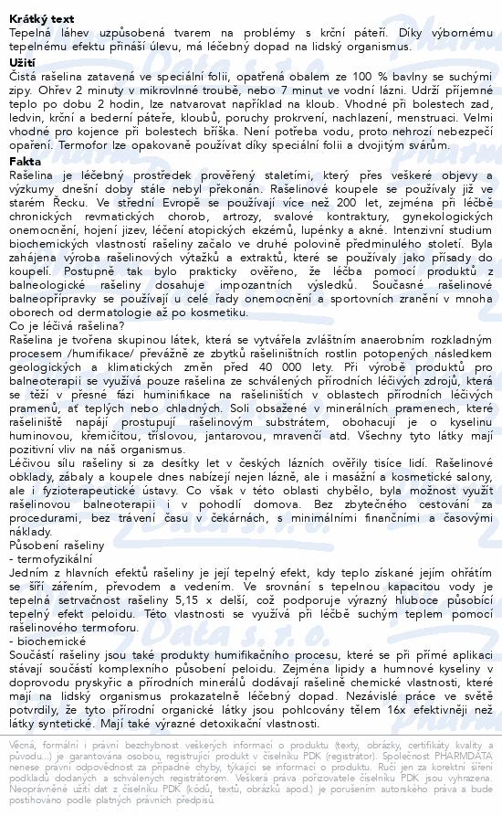 Informace o produktu Termofor rašelinový krční