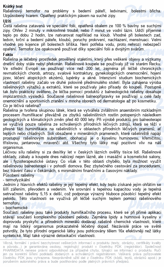 Informace o produktu Termofor rašelinový ledvinový