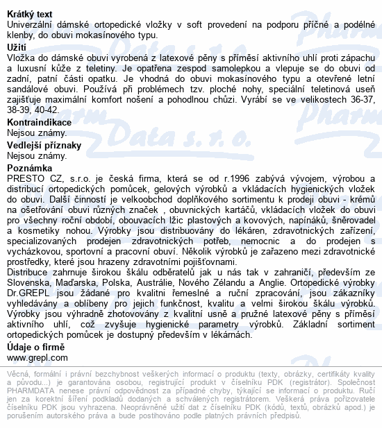 Informace o produktu DR.GREPL Ortopedické vložky Sandra vel.40-42 1pár