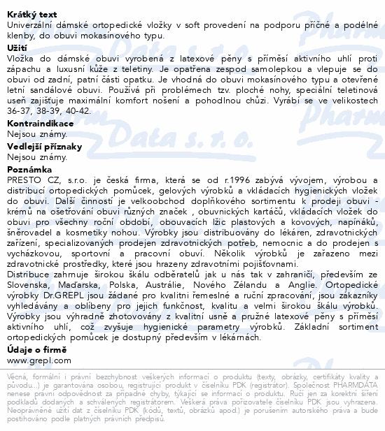 Informace o produktu DR.GREPL Ortopedické vložky Sandra vel.38-39 1pár