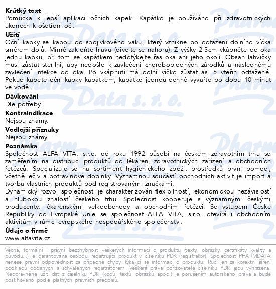 Informace o produktu Kapátko oční ALFA 1ks