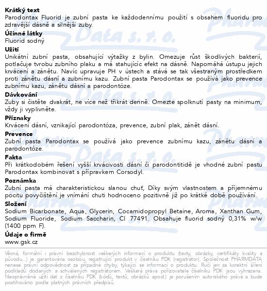 Informace o produktu Parodontax Fluoride ZP 75ml