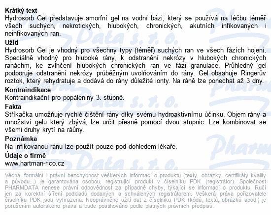 Informace o produktu Kompres Hydrosorb gel 15g 1ks