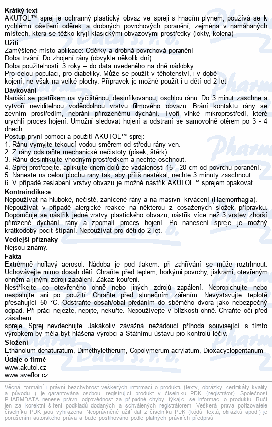 Informace o produktu Akutol spray 60 ml (klas. kód II.A)