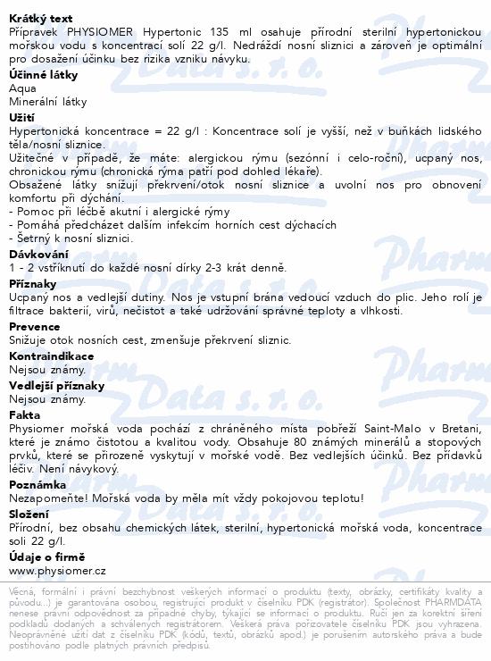 Informace o produktu Physiomer Hypertonic 135ml