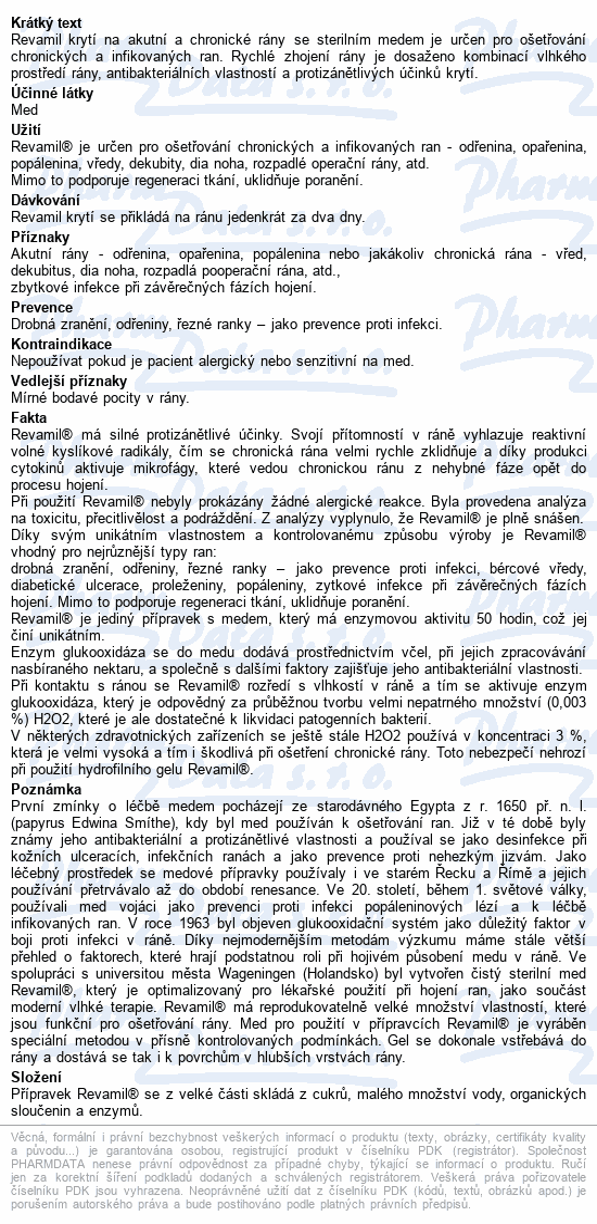 Informace o produktu Revamil Wound Dressing 8x8cm 7ks