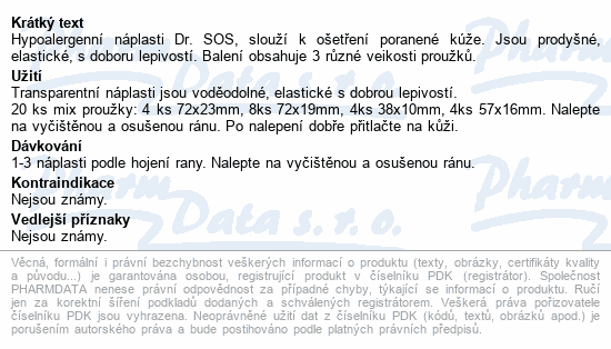 Informace o produktu Náplasti Dr.SOS Transparent.voděod.elast. mix 20ks