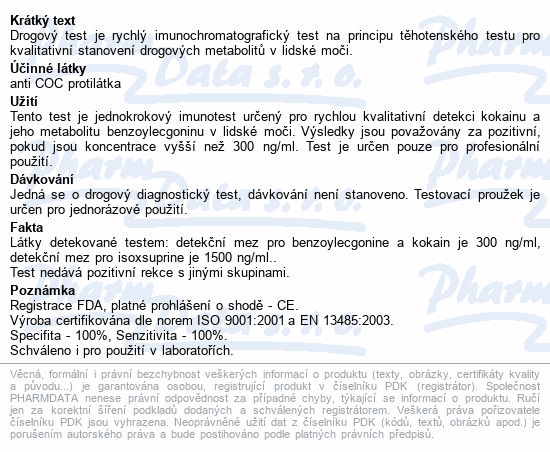 Informace o produktu Drogový test COC Instant-View 1 ks