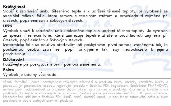 Informace o produktu Izotermická folie Fixaplast 220x140 stříb./zlato