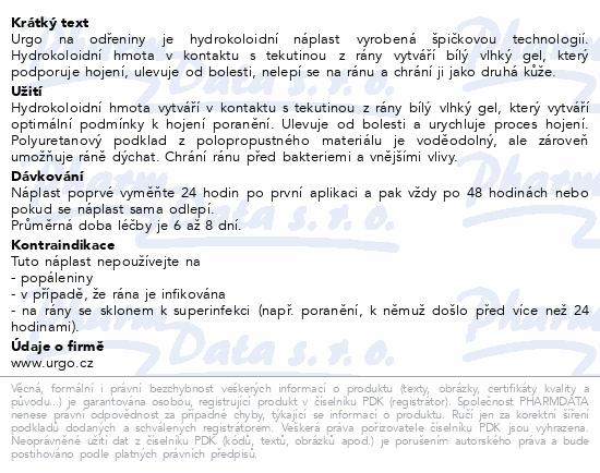 Informace o produktu URGO NA ODŘENINY hydrokol.nápl.7.2x4cm 5ks