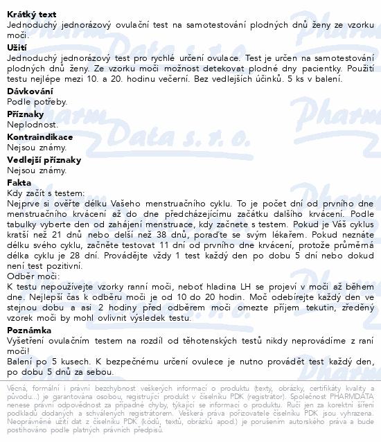 Informace o produktu Ovulační test Woman Secret Right Time proužkový5v1