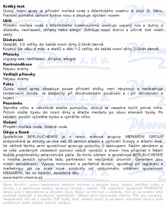 Informace o produktu Quixx nosní sprej 30ml