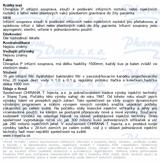 Informace o produktu CHIRAPLUS P infúzní souprava (set)