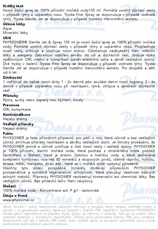 Informace o produktu Physiomer Gentle Jet&Spray 135ml