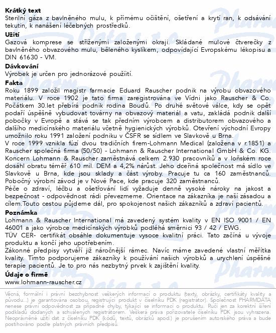Informace o produktu Gáza hydrofil.skl.kompr.ster.Gazin 10x10cm/100ks
