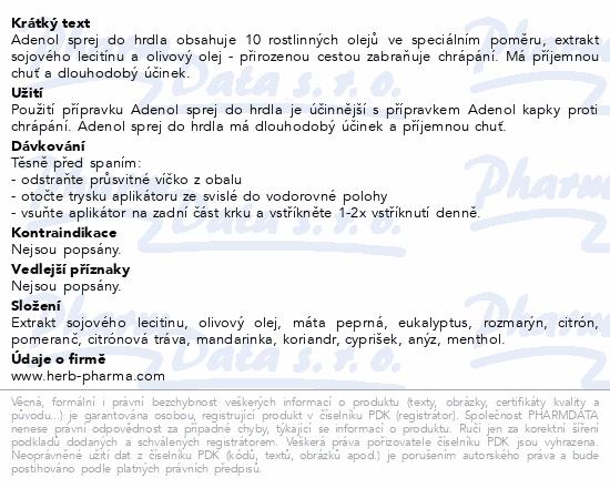 Informace o produktu Fytofontana Adenol sprej proti chrápání 50ml