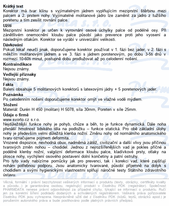 Informace o produktu svorto 029 Korektor molitan uni