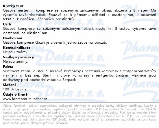 Informace o produktu Gáza hydrofil.skl.kompr.Gazin 7.5x7.5cm/100ks