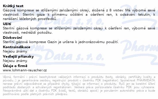 Informace o produktu Gáza hydrofil.skl.kompr.ster.Gazin10x10cm/2ks