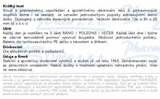 Informace o produktu Dávkovač léků OBZOR typ 02 týdenní zelený