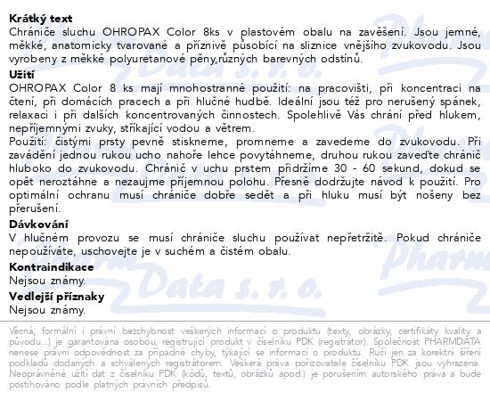 Informace o produktu Chránič sluchu Ohropax Color 8ks