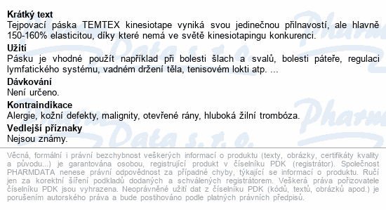 Informace o produktu Tejp. TEMTEX kinesio tape růžová 5cmx5m