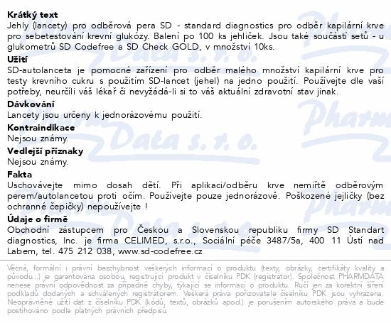 Informace o produktu Jehly/lancety pro SD-odběr.pera kapilár.krve 100ks