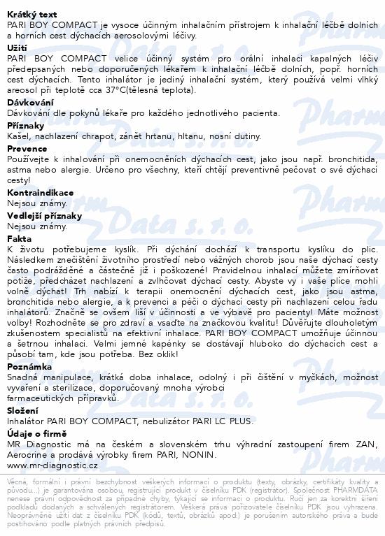 Informace o produktu PARI BOY Compact kompres.inhalátor+příslušenství