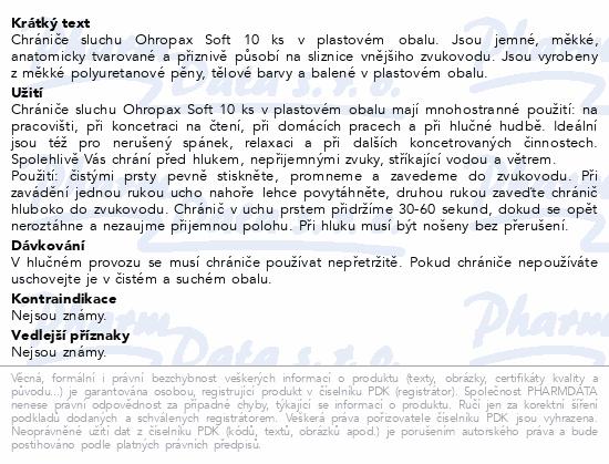 Informace o produktu Chránič sluchu Ohropax SOFT 10 ks