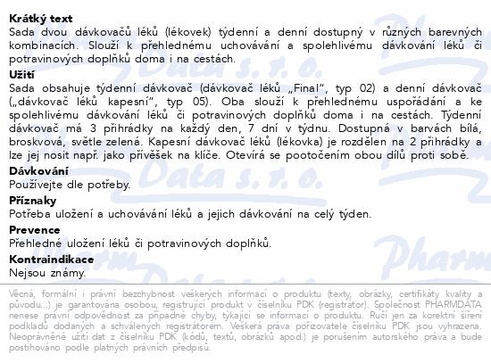 Informace o produktu Dávkovač léků OBZOR SET 02 zelený + 05 kapesní