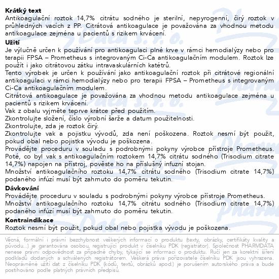 Informace o produktu Natrium Citricum 14.7% 500ml