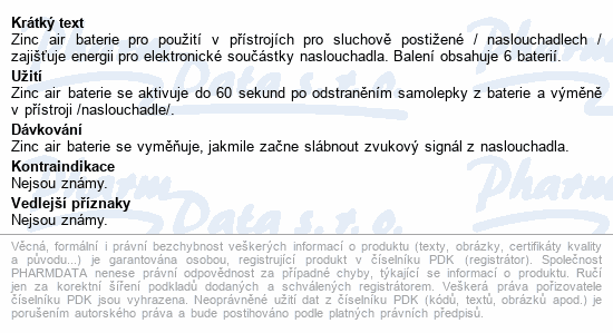 Informace o produktu Baterie do naslouchadel PR- 230H(10)/6LB Panasonic