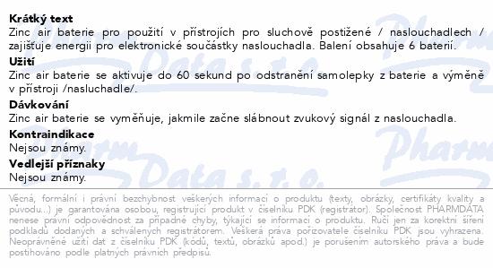 Informace o produktu Baterie do naslouchadel PR - 13L(48)/6LB Panasonic