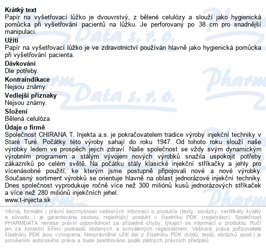 Informace o produktu Papír na vyšetř.lůžko 2-vrstvý perforovaný š.70cm