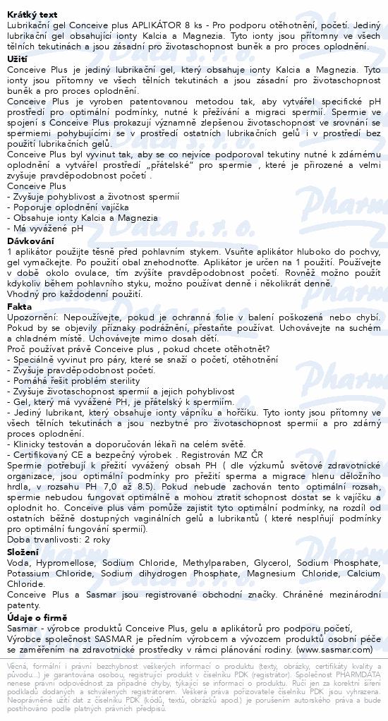 Informace o produktu Conceive Plus Lubrikační gel Aplikátor 8 ks