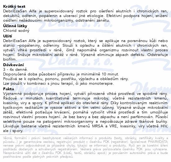 Informace o produktu DebriEcaSan Alfa roztok s rozprašovačem 500ml