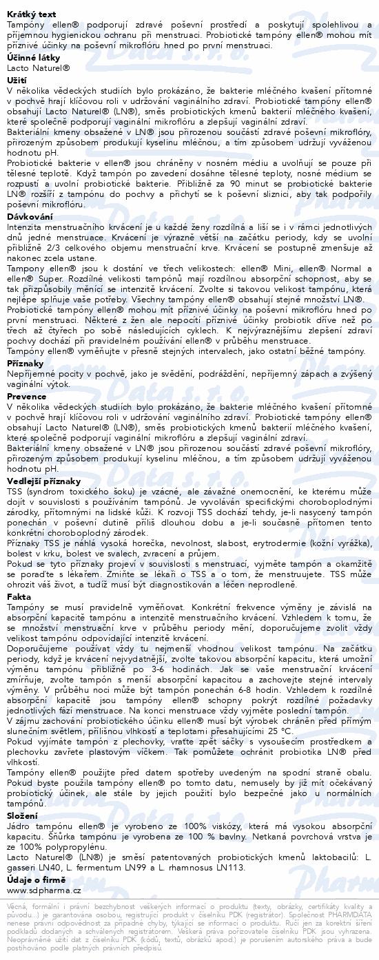 Informace o produktu Probiotické tampóny ellen - Mini 14 ks